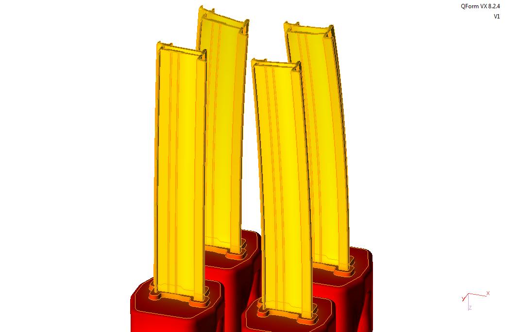 Simulation matrice tubulaire gradient temperatures